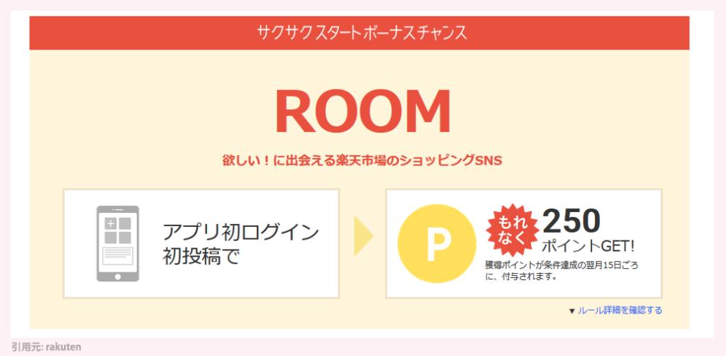 楽天 サクサク ROOMアプリで250ポイントもらえる