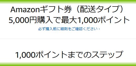 売り切れる前にGo!【amazon速報】Amazonギフト券(配送タイプ) 5,000円購入で最大1,000ポイントもらえる!友人と相互に送れば、お互いにお得♪